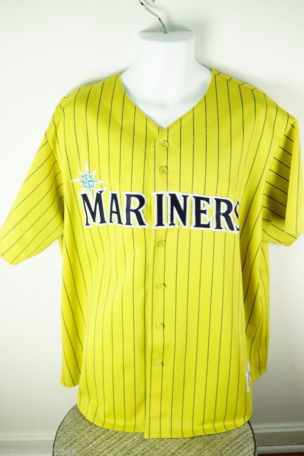 Vintage Majestic Seattle Mariners Mlb Baseball Yellow Navy