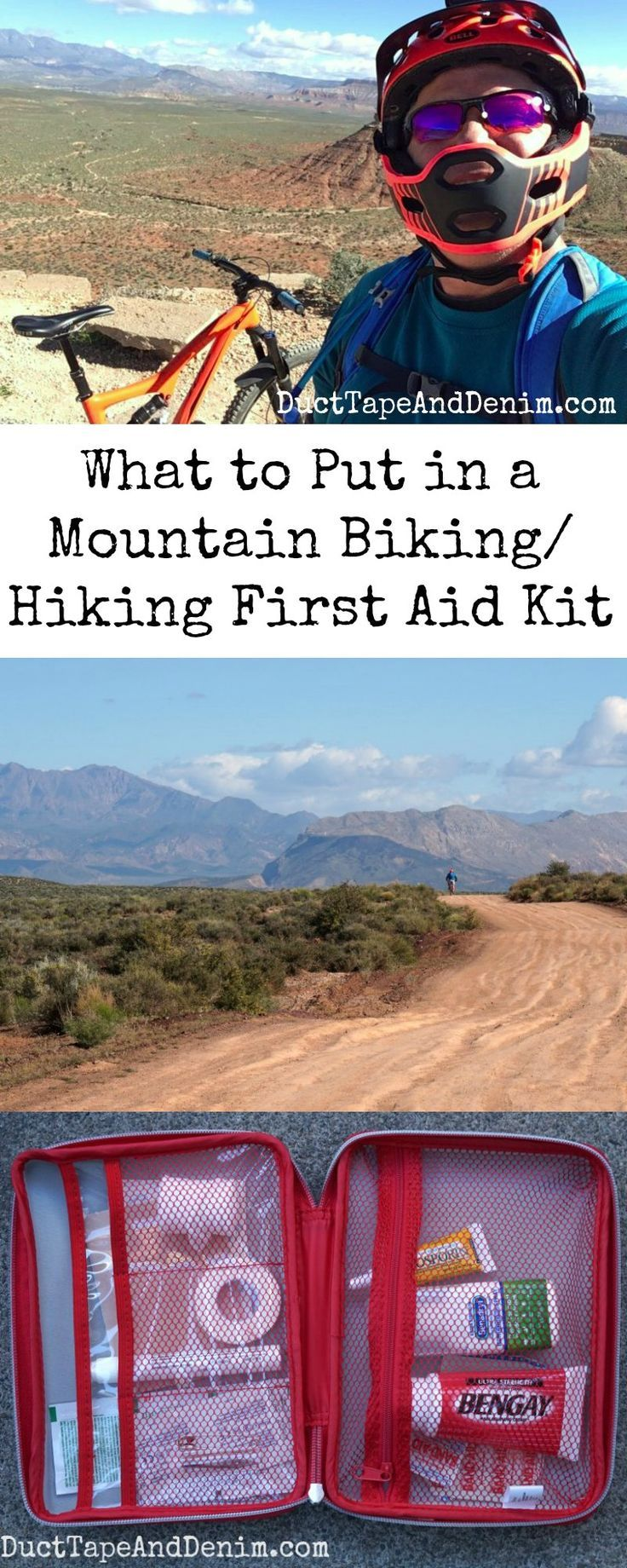 What to put in a mountain biking hiking first aid kit.  DuctTapeAndDenim.com  #firstaidkit #mountainbiking #hiking #hikingfirstaidkit #whattoputinfirstaidkit