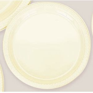"Plastic Vanilla Creme Dinner Plates. Plastic 10.25"" Dinner Plates Solid ColoursThere are 20 Plastic Dinner Plates per package. They are a LARGE 10.25 inches and come in 22 colours to suit any theme or event. This is a great item if you require a large plate that is stronger than paper."