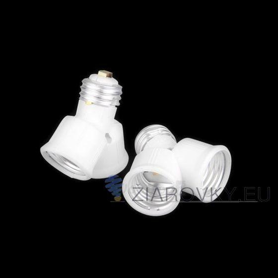 Adaptér E27 do 2xE27, E27 do 2x E27, E27 na 2x E27, klasické vlákninové žiarovky, redukcia E27 do 2xE27, Rozdvojka pätice E27, rozdvojka pre LED, rozdvojka pre LED žiarovky, rozdvojka žiaroviek, úsporné a LED žiarovky. http://www.ziarovky.eu/