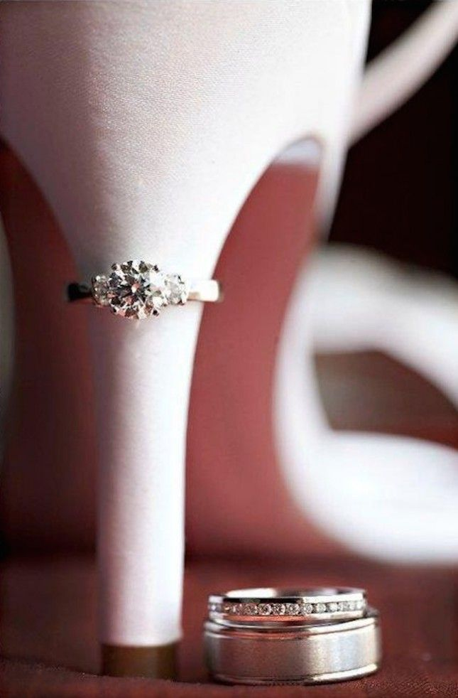 . Incorporate the Ring: Combining two of your favorite wedding day accessories in one photo is an obvious win. Whether your ring is traditional or not, add it to your shoe shot for the ultimate photo opp