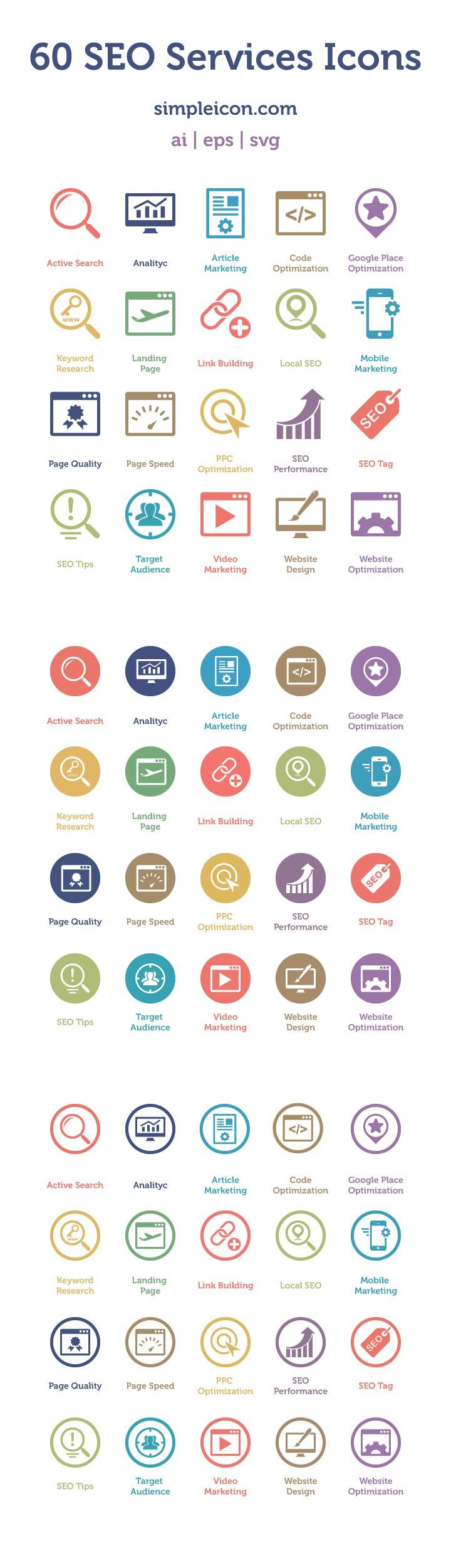 SEO Services Icons: useful set of flat icons that includes 60 different icons http://simpleicon.com/set/60-seo-services-icons/