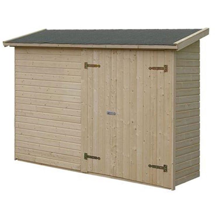 Förråd Mia från Polhus är ett litet smidigt uteförråd att bygga mot en befintlig husvägg. Förrådet har dubbeldörr och golv av 16 mm hyvlad råspont.
