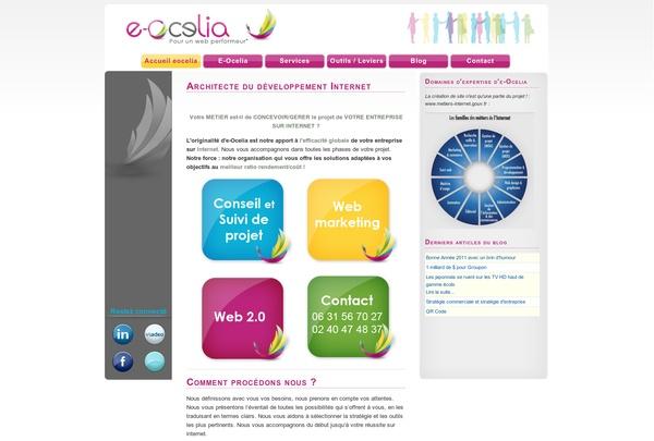 [Communication/Evénementiel] Nous avons réalisé le site Internet de l'entreprise e-ocelia, spécialisée dans le conseil et l'assistance à la maitrise d'ouvrage, la rédaction des cahier des charges des projets web et les cours de formation en webmarketing. Site réalisé sous Joomla