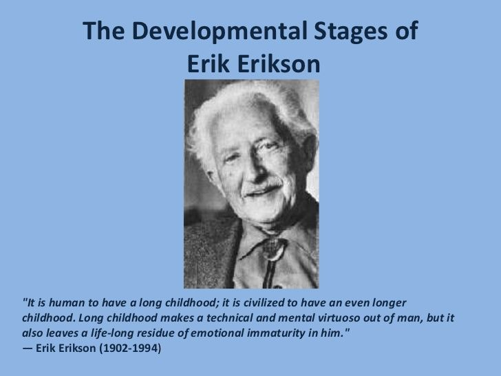 the erik erikson theory of development Erik erikson, the famous developmental psychologist and psychoanalyst, developed a theory known as the psychosocial stages of development in this theory on personality development of humans, erikson put forward eight stages, that begin when a child is born and end when the person dies at an old age.