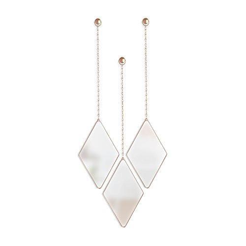 Set of 3 Copper Diamond Chain Mirrors