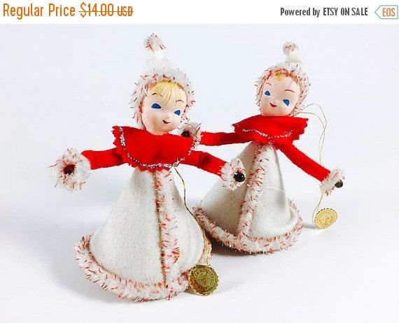 SALE Vintage Christmas Angel Figurine Red White Felt Cone Girl Delta Novelty Made In Japan Holiday Decoration Mid Century Retro Set Of 2 - pinned by pin4etsy.com