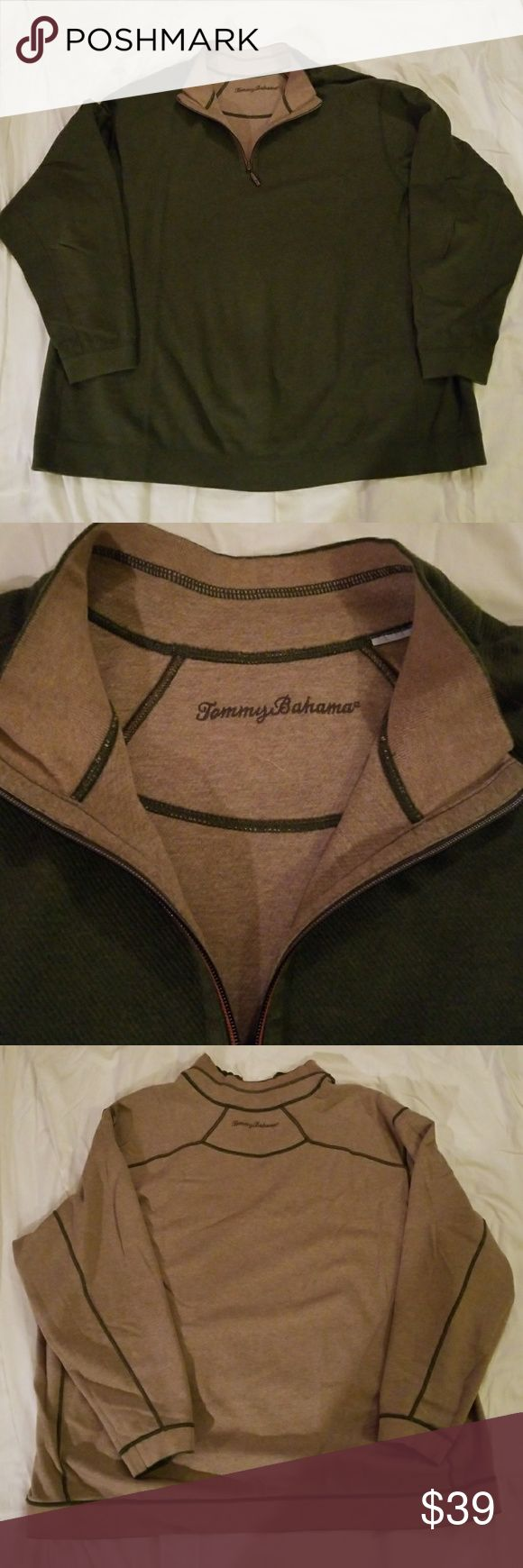 EUC Tommy Bahama reversible sweater 3XB Very gently used men's big & tall Tommy Bahama mock turtleneck half zip sweater size 3XB.  Size tag has been removed as it is reversible.  Camel & green colors. Long sleeve. NO TRADES, OPEN TO OFFERS Tommy Bahama Sweaters Zip Up
