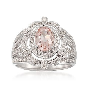 1.00 Carat Morganite and .20 ct. t.w. Diamond Ring in Sterling Silver | #813314 @ ross-simons.com