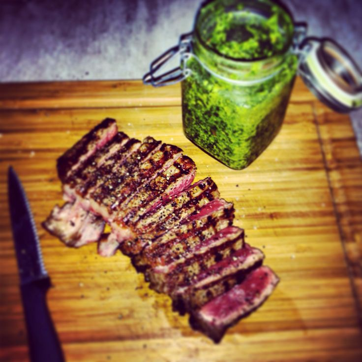 Seared Sirloin with homemade basil pesto.