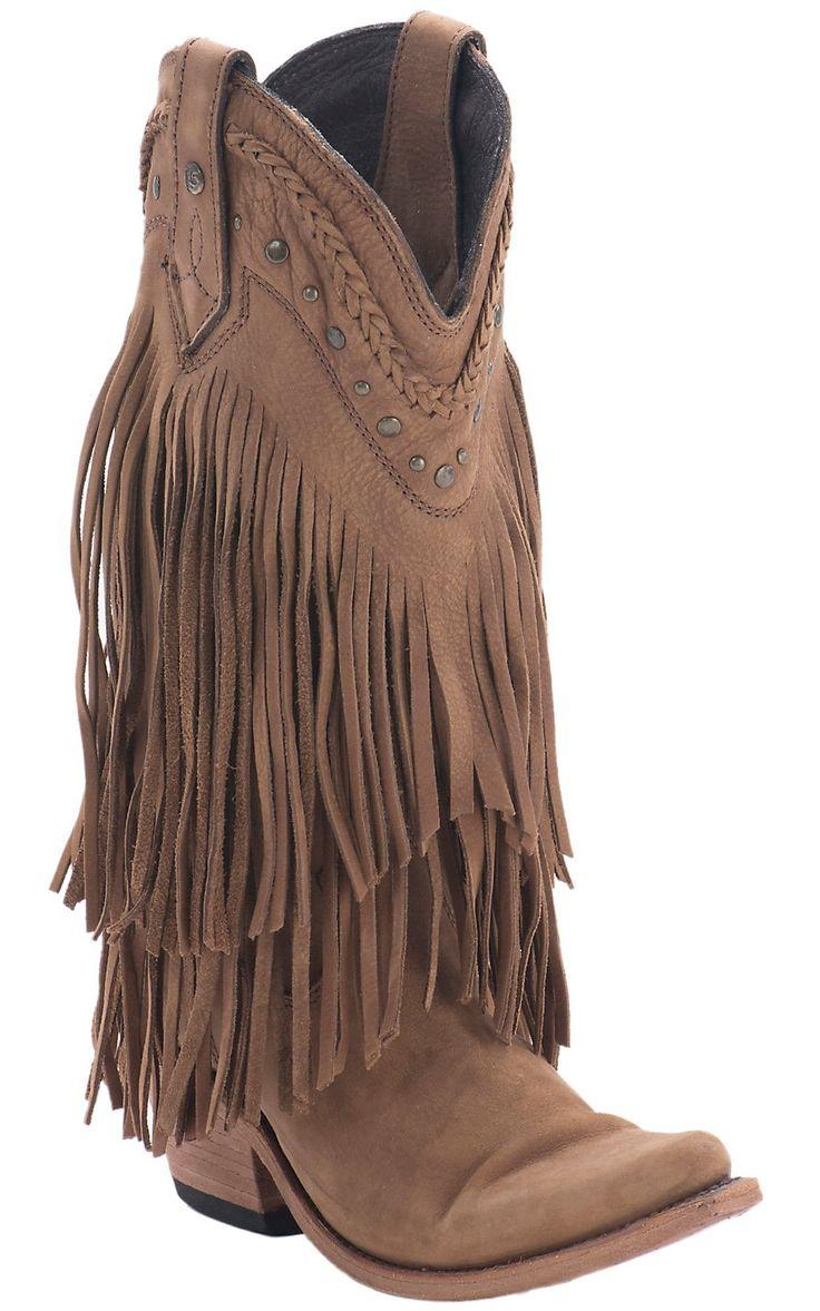 Liberty Black® Women's Tan Buckskin Vegas T-Moro Fringe Snip Toe Western Fashion Boots