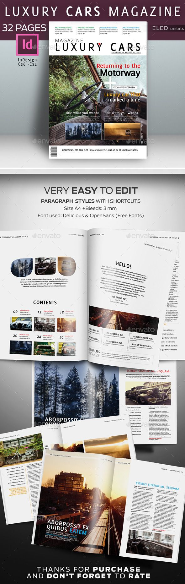 32 Pages Luxury Cars Magazine Template #design  Download: http://graphicriver.net/item/32-pages-luxury-cars-magazine/12324274?ref=ksioks