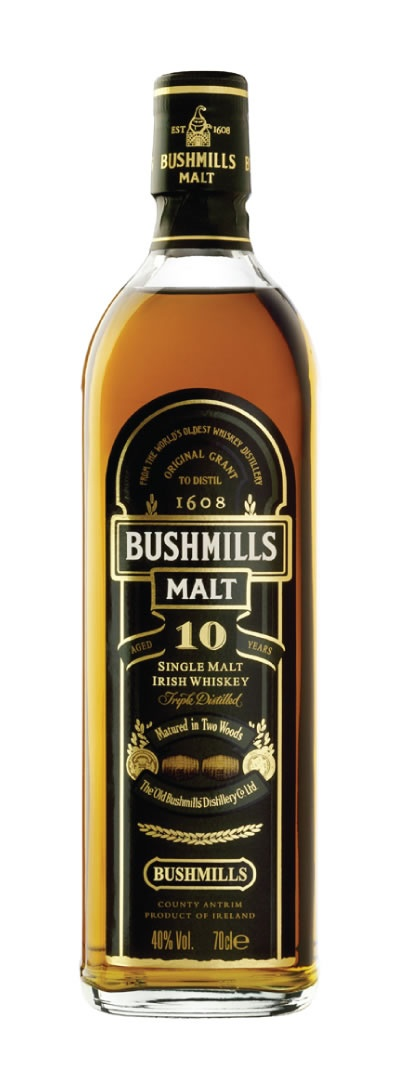 Bushmills Single Malt Whiskey, the famous Irish distillery in Northern Ireland, makes a range of whiskey expressions. The Bushmills 10 year old single malt is one of the premier offerings from this distillery and a great introduction into the world of single malt Irish whiskies.