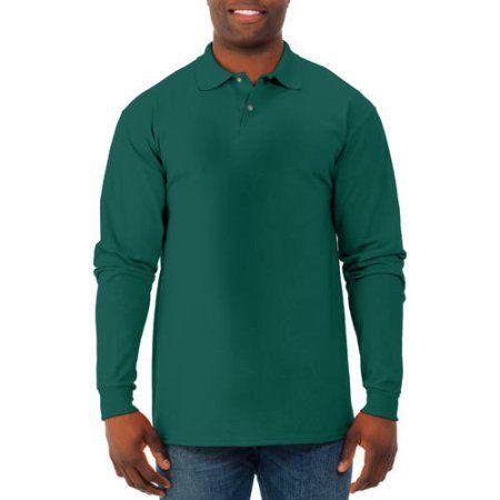 Jerzees Spot Shield Men's Long Sleeve Polo Sport Shirt, Size: Medium, Green
