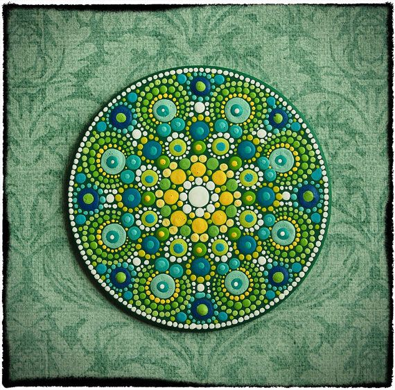 Mini Original Round Painting- Jewel Drop Mandala- Summer lemon and lime