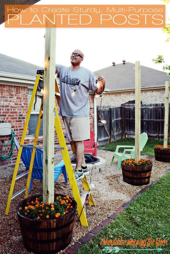DIY Sturdy Planted Posts   Complete step-by-step tutorial to create posts in planters that are guaranteed not to blow over or shift.