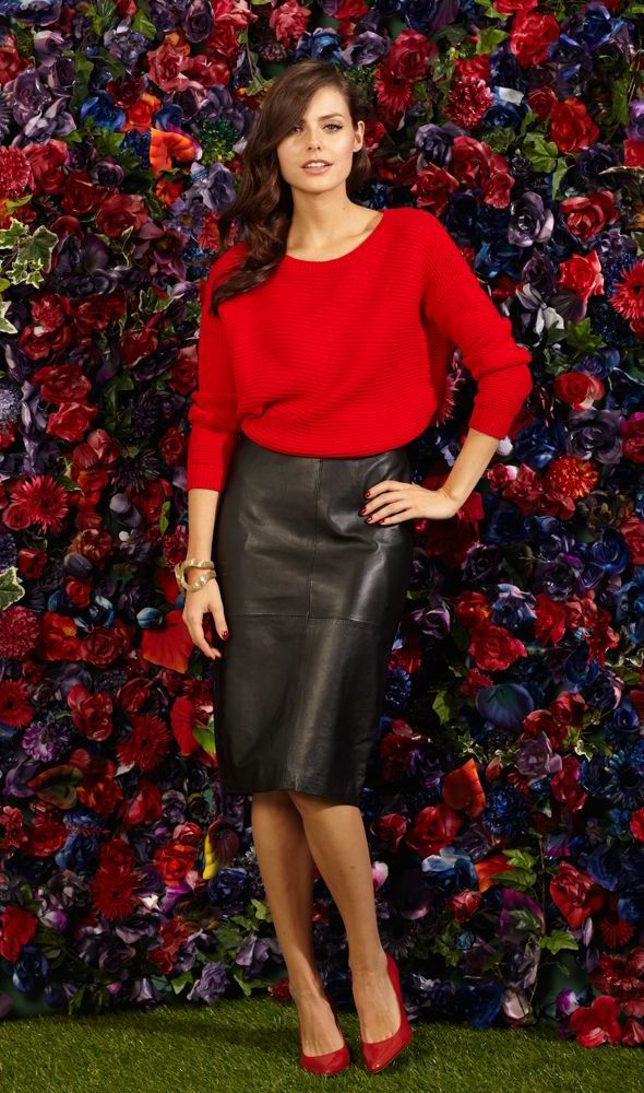 Red sweater black leather pencil skirt and red heels