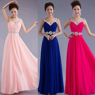 Sexy WOmen Long Chiffon Bridesmaid Formal Gown Party Cocktail Evening Prom Dress
