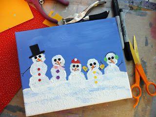 that artist woman: Family Snowman Portraits