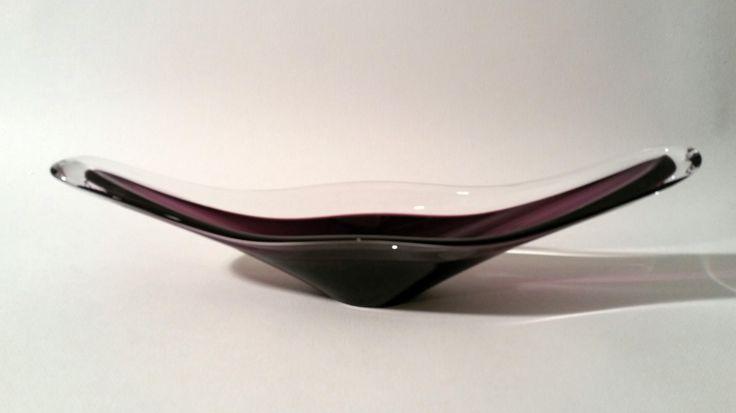 A Moulded Transparent and Violet Glass Vase H : 3.2 in. - 8 cm.  L : 14.4 in. - 36,5 cm.  l : 3.7 in. - 9,5 cm.