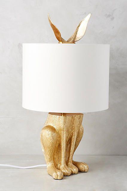 Gilded Hare Lamp Ensemble - anthropologie.com