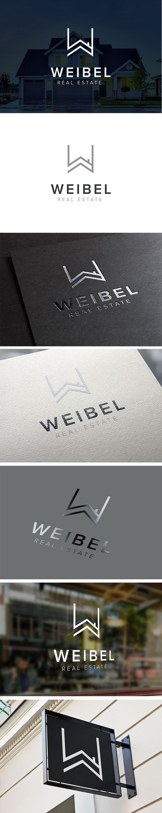 Weibel Real Estate Logo Design, Property Management Brand Identity  |  Letter W, mark, roof, residence, villa, house, property development, Agence Immobilière,  |  Weibel Real Estate, Geneva Switzerland  |  Celine Le Duigou, Freelance Graphic Designer, Perth Australia:
