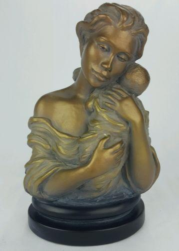 Austin-Sculpture-Heaven-Sent-Bust-Statue-9-75-034-x-6-034-Durastone-Bronze-and-Gray
