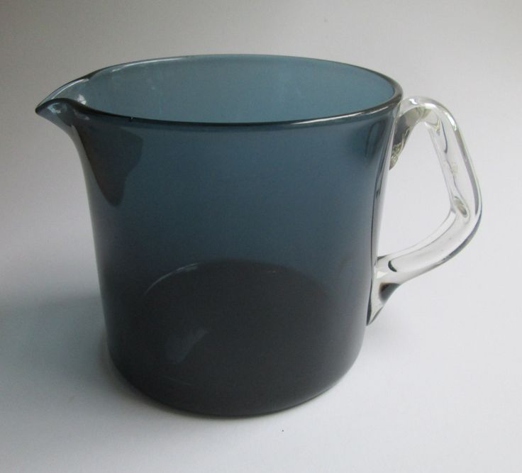 Steel blue glass Rosso pitcher (jug) designed by Nanny Still for Riihimäki Finland by SCALDESIGN on Etsy