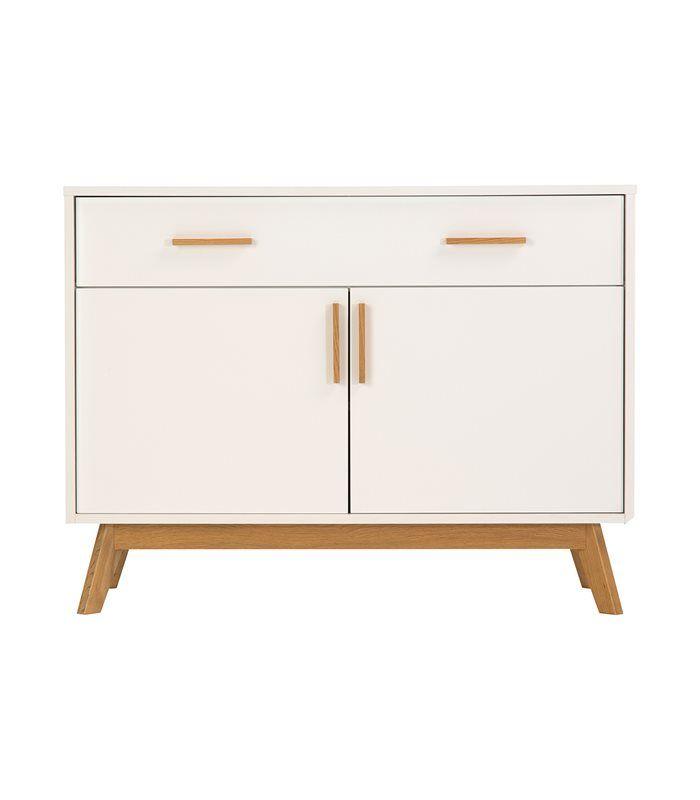 mueble auxiliar de madera con puertas blancas