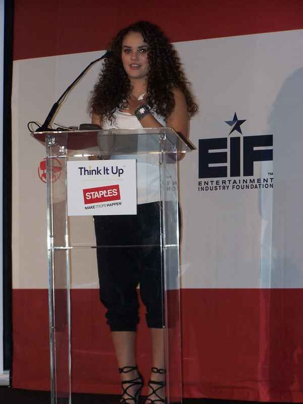Madison Pettis at Staples and Think it Up Foundation press conference