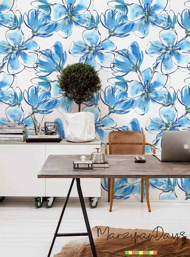 Blue Floral removable wallpaper contemporary wall decor