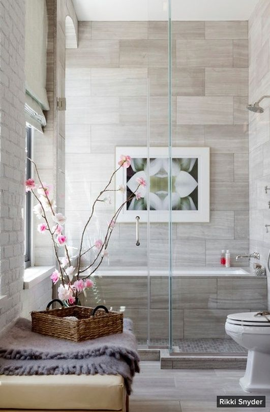 Hamptons Holiday House 2014 - Erika Barratt Design.  The bathrooms floral theme is complemented by hand-painted paper flowers affixed to cherry blossom branches