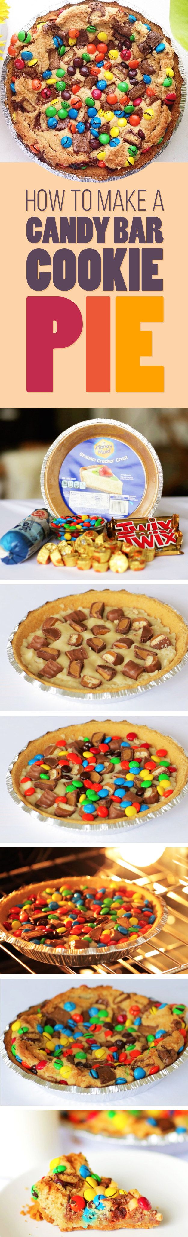 1 store-bought graham cracker pie crust 1 package sugar cookie dough 5 to 7 mini Reese's cups 4 Twix bars (from 2 packages) 1 cup M&Ms Bake 40 mins @ 350