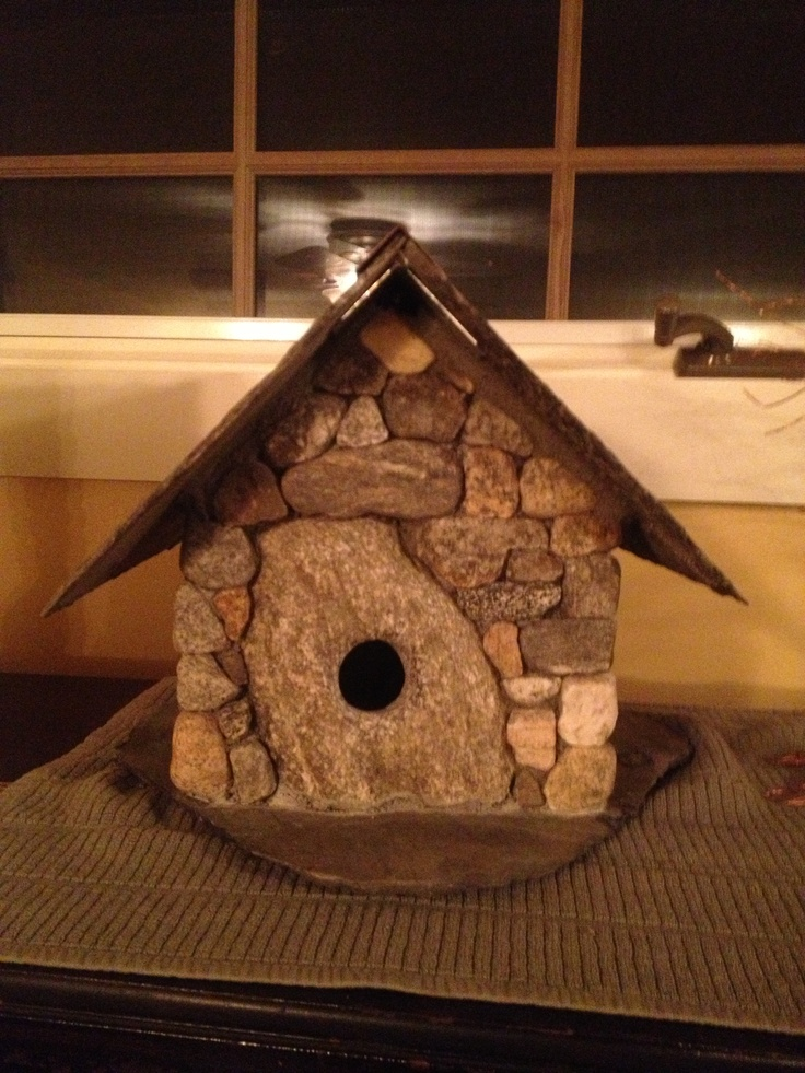 Stone bird house sticks and stones pinterest more Wine cork birdhouse instructions