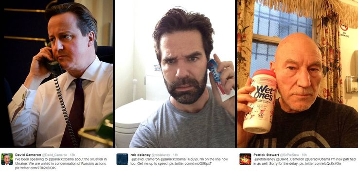David Cameron's stock image-esque photo of himself on the phone to Barack Obama has been lampooned by Twitter heroes Sir Patrick Stewart and Rob Delaney, who 'dialled in' with a tube of toothpaste and a packet of wet wipes.