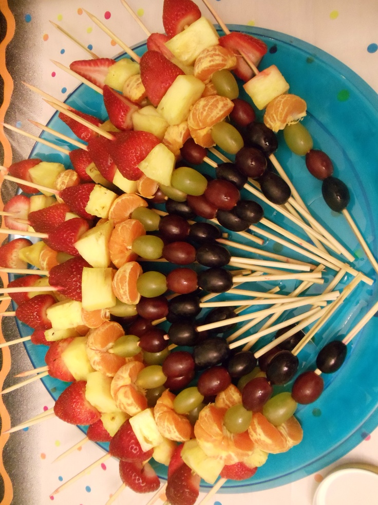 80s party food...rainbow fruit kabobs