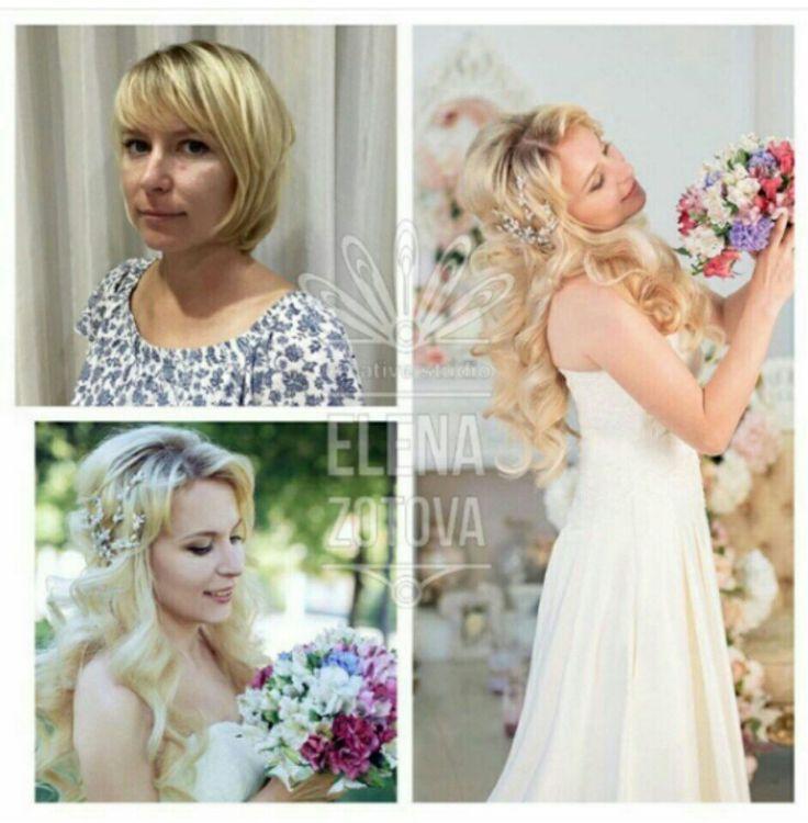 Прическа на короткие волосы с добавлением прядей. Немного волшебства для чудесной невесты.