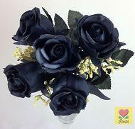 3 XArtificial Silk Black Rose Flower Bushes