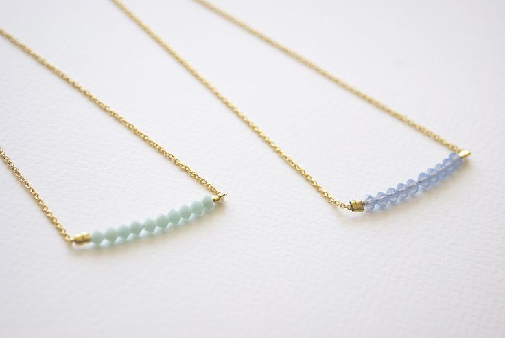 Collar Small Glass, mint y azul.