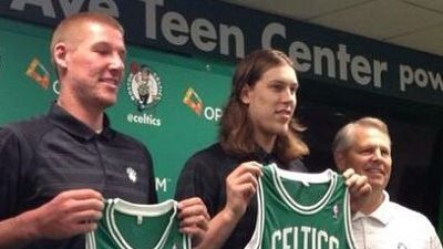 Kelly Olynyk, Colton Iverson Unveil New Celtics Jerseys at Introductory News Conference (Photo)