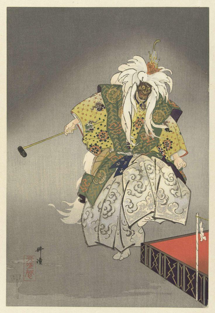 Tsukioka Kôgyo | Acteurs in het Noh theaterstuk Kokaji, Tsukioka Kôgyo, Matsuki Heikichi, 1925 | Dansende acteur in de rol van de godin Inari no Myojin, met masker en wilde witte pruik, waarin een klein beeldje van een vos. Linker deel van diptiek.