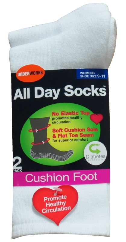 Socks - Womens all day white diabetic, cushioned (6 pr), Assistive Style $40