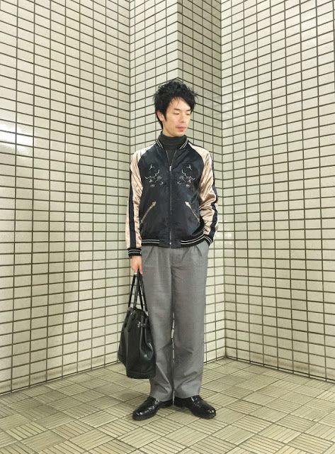 Y's Wardrobe: ドクロ刺繍のスカジャンにワイドパンツを合わせて やっぱりインナーはタートルネック