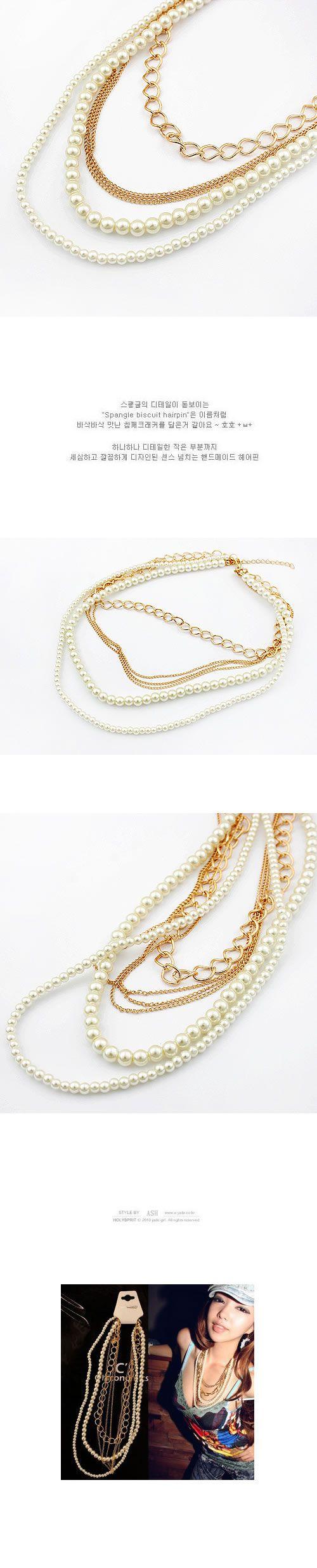 Drawstring White Multilayer Imitate Pearl Design Pearl Beaded Necklaces,Beaded Necklaces