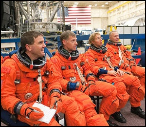 Astronauts Rex Walheim, Chris Ferguson, Sandy Magnus, and Doug Hurley final mission flight for STS 135.