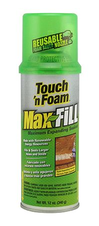 #airsealing Our maximum expanding formula, in the familiar green can, is the original Touch 'n Foam sealant formulated to fill gaps and voids all around the home. This super-expanding foam creates an airtight, weather-resistant bond that seals out drafts while blocking insects and other pests. MaxFill Foam Sealant is ideal for filling larger gaps and cracks. It can be used indoors or outdoors #insulation