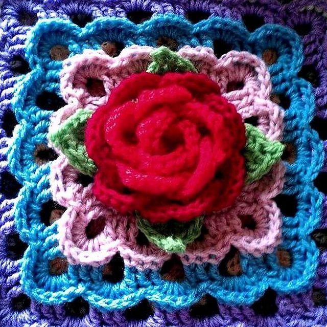 "Ravelry: 12"" Tea Rose Afghan block pattern by Abigail Bailey"