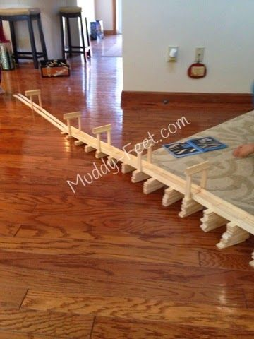 Long ramp created with KEVA Contraption kit (200 planks) - NewEnglandMomma.com (formerly Muddy-Feet.com)
