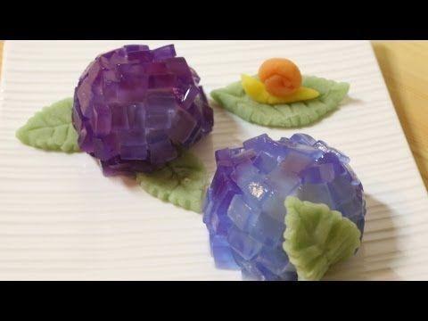 "How to make Wagashi ""Hydrangea"" ~和菓子 あじさい 作り方"