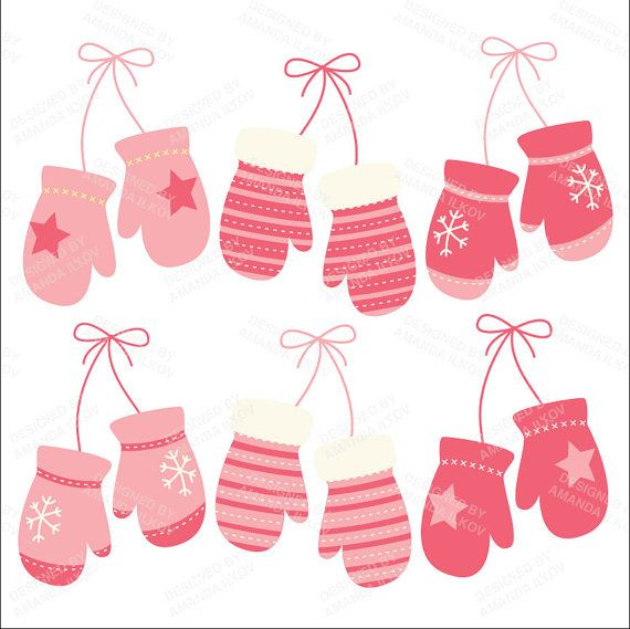 Professional Pink Mittens Clipart Pink Mitten Clip by AmandaIlkov